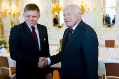 Robert Fico and Václav Klaus. Slovak prime minister Robert Fico (left) and Czech president Václav Klaus (right) in Prague, April 20, 2012 Stock Images