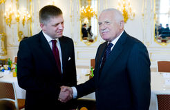 Robert Fico and Václav Klaus Stock Photos