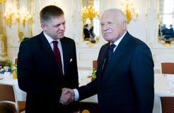 Robert Fico and Václav Klaus Stock Photos