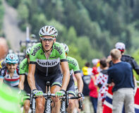 Robert Gesink Climbing Alpe D'Huez Royalty Free Stock Photos