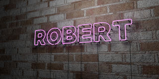 ROBERT - Glowing Neon Sign on stonework wall - 3D rendered royalty free stock illustration Royalty Free Stock Photos