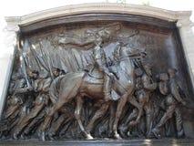 Robert Gould Shaw Memorial, Beacon Street, Boston, Massachusetts, USA. Bronze relief memorial sculpture commemorating Robert Gould Shaw and the Massachusetts stock image