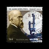 Robert Koch, discoverer prevent of tubercle bacillus, Nobel Medicine Prize, circa 2005,. GERMANY - CIRCA 2005: stamp printed in Germany shows Robert Koch 1843 Stock Images