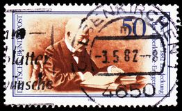 Robert Koch, Medical Discoveries - Tubercule Bacillus serie, circa 1982. MOSCOW, RUSSIA - FEBRUARY 22, 2019: A stamp printed in Germany, Federal Republic shows stock photography