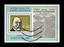Robert Koch, TB Bacillus Centenary, DDR, circa 1982. DDR - CIRCA 1982: post stamp printed in DDR shows tuberculosis scientist, explorer Robert Koch, TB Bacillus royalty free stock photos