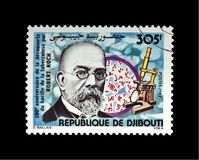 Robert Koch, tuberculosis scientist, explorer, tubercle bacillus discoverer, Djibouti, circa 1982,. DJIBOUTI - CIRCA 1982: post stamp printed in Djibouti shows stock images