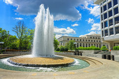 Robert Latham Owen park and a fountain. Fountain can be found in Robert Latham Owen park in Washington D.C., USA. Robert Latham Owen was one of the first United Stock Images
