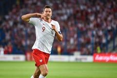 Robert Lewandowski. Poznan, Poland. 8th June, 2018. International Football friendly match: Poland v Chile 2:2. Robert Lewandowski joy after scoring goal stock photo
