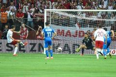 Robert Lewandowski shoots penalty kick goalkeeper Ariel Harush. WARSAW, POLAND - JUNE 10, 2019: Qualifications Euro 2020  match Poland - Israel 4:0. Robert stock photo