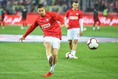 Robert Lewandowski during warm up. CHORZOW, POLAND - OCTOBER 11, 2018: Football Nations League division A group 3 match Poland vs Portugal 2:3 . In the picture royalty free stock image