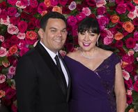 Robert Lopez and Kristen Anderson-Lopez at the 2018 Tony Awards. Previous Tony winner Robert Lopez and wife and collaborator Kristen Anderson-Lopez arrive on the stock image