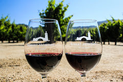 Robert Mondavi Winery Glasses Imagem de Stock