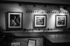 Robert Mondavi Winery som är svartvit Arkivfoton