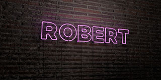 ROBERT -Realistic Neon Sign on Brick Wall background - 3D rendered royalty free stock image Royalty Free Stock Photography