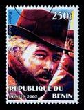 Robert Redford Postage Stamp. REPUBLIC OF BENIN - CIRCA 2002: A postage stamp printed in the Republic of Benin showing Robert Redford, circa 2003 Royalty Free Stock Photos