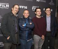 Robert Smigel, Gilbert Gottfried, Owen Suskind och Stephen Colbert Arkivbild