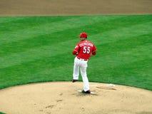 Robert Stephenson fa il suo Major League Baseball Debut immagine stock