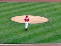 Robert Stephenson macht seinen Major League Baseball Debut stockfotografie