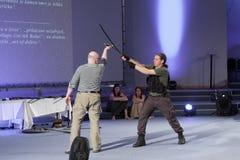 Robert Waschka κατά τη διάρκεια της συζήτησης για το στρατιώτη εναντίον του πολεμιστή σε Anime Στοκ εικόνα με δικαίωμα ελεύθερης χρήσης