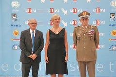 Roberta Pinotti e il Generale Claudio Graziano al Giffoni Film Festival 2015 Royalty Free Stock Images