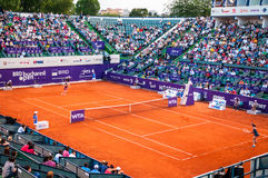 Roberta Vinci and Petra Cetkovska playing the QF of Bucharest Open WTA Stock Photos