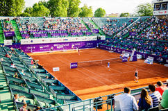 Roberta Vinci and Petra Cetkovska playing the QF of Bucharest Open WTA Stock Photo