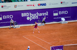 Roberta Vinci playing the QF of Bucharest Open WTA. Roberta Vinci playing during the QF of Bucharest Open WTA, July the 11th, 2014, tennis match against Petra Royalty Free Stock Images