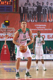 Robertas Javtokas. SAMARA, RUSSIA - MARCH 07: Robertas Javtokas of BC Zalgiris gets ready to throw from the free throw line in a BC Krasnye Krylia game on March royalty free stock image