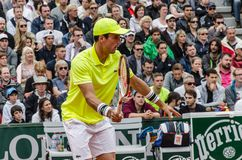 Roberto Bautista Agut στην τρίτη στρογγυλή αντιστοιχία, Roland Garros 2014 Στοκ φωτογραφίες με δικαίωμα ελεύθερης χρήσης