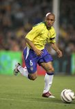 Roberto Carlos. Brazilian player Roberto Carlos in action during the friendly match between Catalonia vs Brazil at Nou Camp Stadium in Barcelona, Spain. May 25 Royalty Free Stock Photography