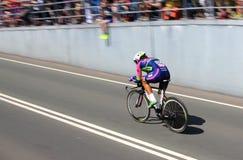 Roberto Ferrari, Lampre-Merida. APELDOORN, NETHERLANDS-MAY 6 2016: Roberto Ferrari of pro cycling team Lampre-Merida during the Giro d'Italia prologue time trial Royalty Free Stock Photo