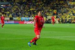 Roberto Firmino-spelen bij de Europa gelijke van de Ligahalve finale tussen Villarreal CF en Liverpool FC Stock Afbeelding
