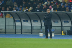 Roberto Martinez stays at the edge of the field, UEFA Europa League Round of 16 second leg match between Dynamo and Everton Royalty Free Stock Photo