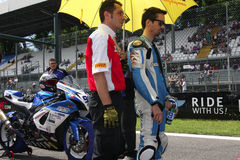 Roberto Tamburini #91 on Suzuki GSX-R 600 NS Suriano Corse Supersport championship WSS royalty free stock photography