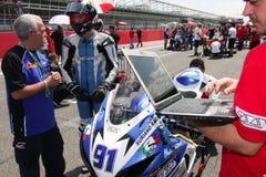 Roberto Tamburini #91 on Suzuki GSX-R 600 NS Suriano Corse Supersport championship WSS stock photography
