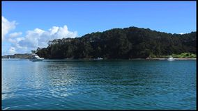 Roberton Island in the Bay of Islands New Zealand stock footage