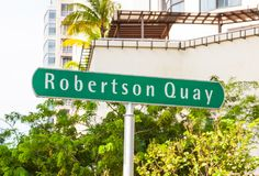 Robertson Quay Signpost. A signpost at Robertson Quay, a tranquil riverside setting in Singapore with residential, hotel and commercial uses royalty free stock photos