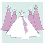 Robes de mariée et de demoiselles d'honneur Images libres de droits