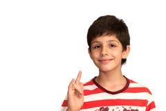 robią muzyczny mądrze chłopiec gesty Zdjęcia Stock