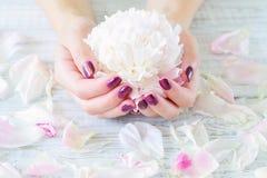 Robiący manikiur kwiaty i paznokcie zdjęcia stock