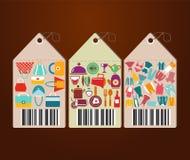 Robiący zakupy ikony i Ogólnoludzkich etykietek płaskie ikony kształtuje Ilustracja Wektor