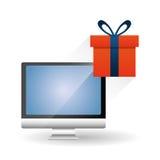Robiący zakupy online i komputerowy projekt, wektorowa ilustracja Fotografia Stock
