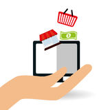 Robiący zakupy online i komputerowy projekt, wektorowa ilustracja Obrazy Royalty Free