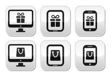 Robiący zakupy online, interneta sklepu guziki ustawiający ilustracji