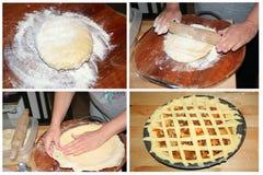 Robić domowej roboty kulebiakowi z jabłkami, kolażu set Zdjęcie Stock