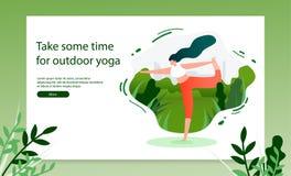 Robić joga ćwiczeń sieci Plenerowemu Wektorowemu sztandarowi ilustracji
