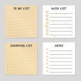 Robić liście, liście życzeń, liście zakupów i notatkom, Karty dla twój projekta również zwrócić corel ilustracji wektora Obraz Stock