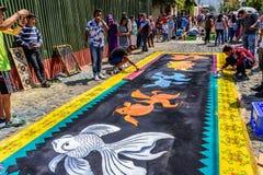 Robić Pożyczającym dywanom, Antigua, Gwatemala Zdjęcie Stock
