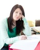 robić sypialnego praca domowa jej ucznia Zdjęcia Royalty Free