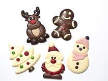 Robić w chocolat bożenarodzeniowe postacie Zdjęcie Stock